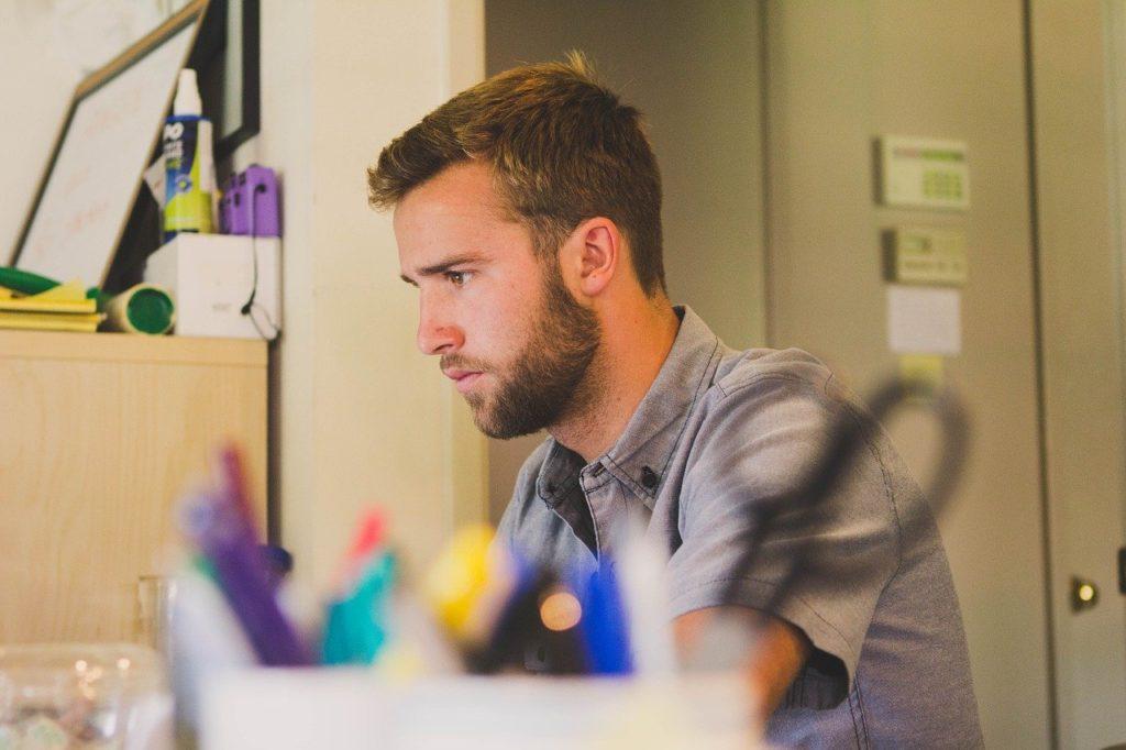 man, work, desk